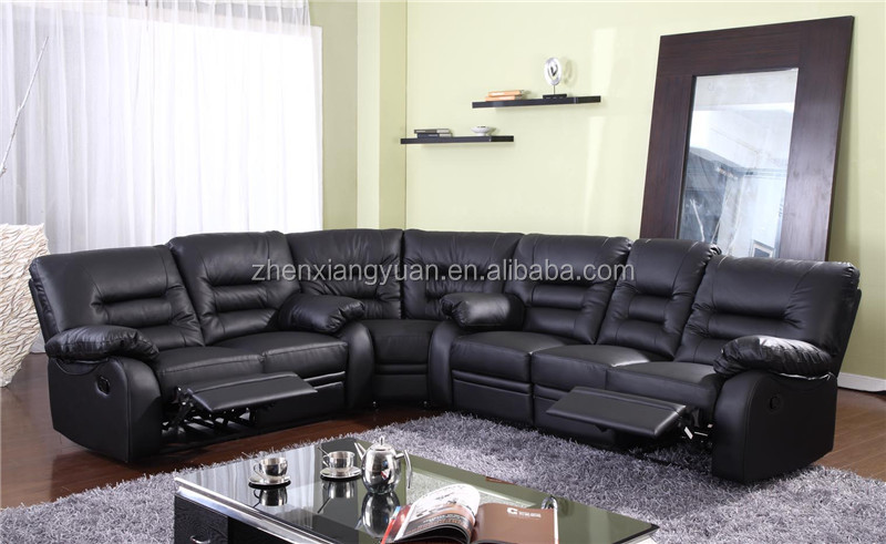 New Style Black Leather Recliner Corner Sofa Set With Wedge