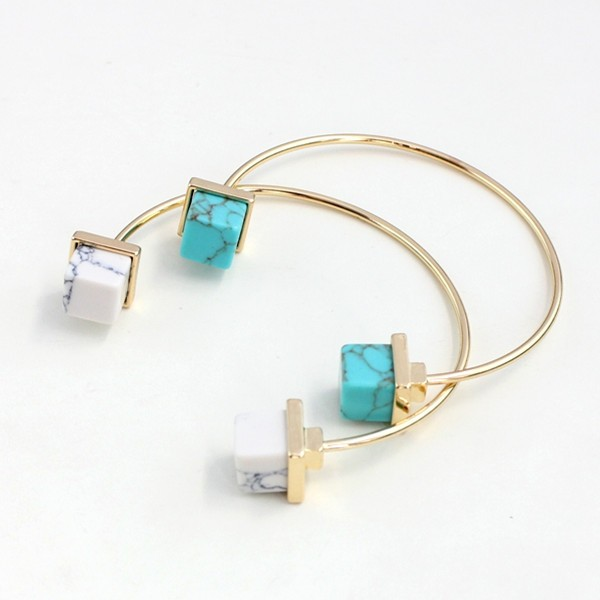 2016 Latest Designs Jewelry Bullet Turquoise Gold Tone Opening Cuff Bracelet for Women