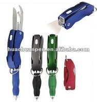 2014 plastic tool pen with knife and light,multi-function pen