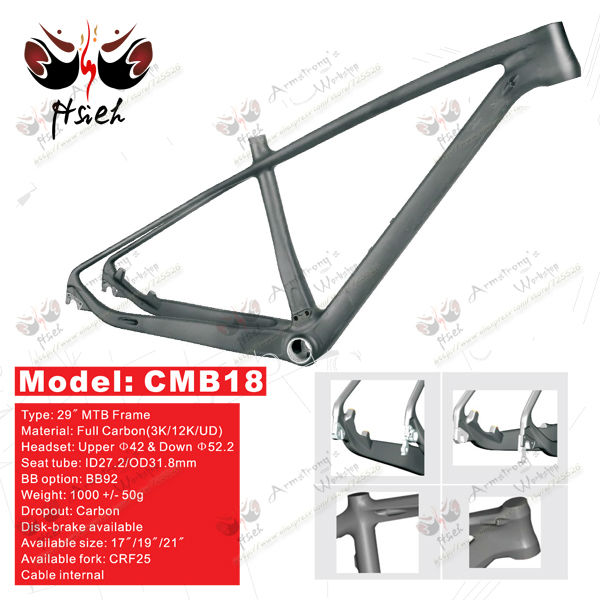 In stock! Chinese carbon 29er mountain bike frame, BB92 mtb frame