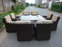 All-Weather Synthetic Rattan with Arm Teak Wood Bellagio Dining Table Collection