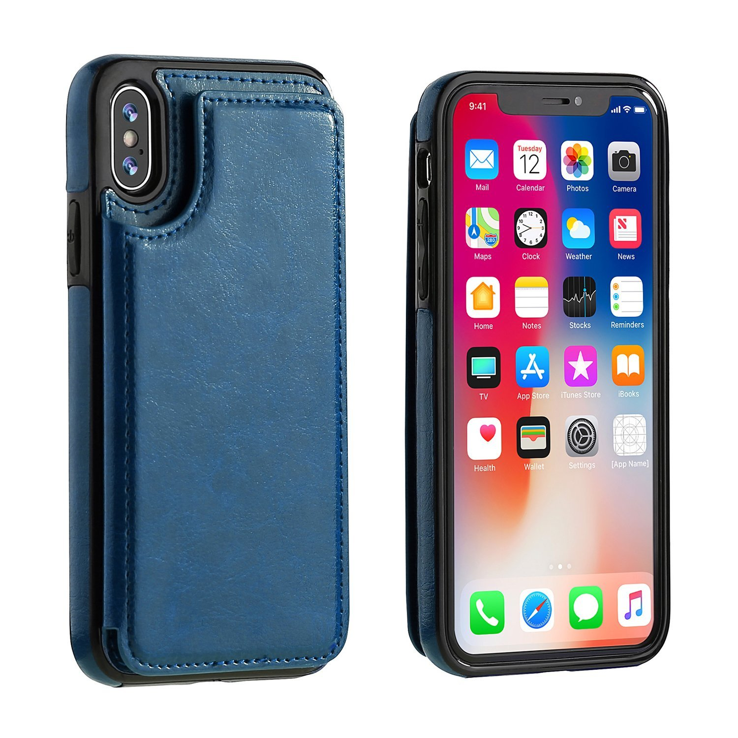 Wallet Premium PU Leather Kickstand Card Slots Double Magnetic Clasp and Durable Shockproof Cover Case For iPhone X