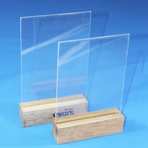 Acrylic Table Tent Frame Tabletop Photo Frame Menu Holder Display stand with Wood Base Size