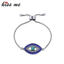 2016 Unique Bracelets Evil Eyes Designs Box Chain Bracelet Diamonds Silver