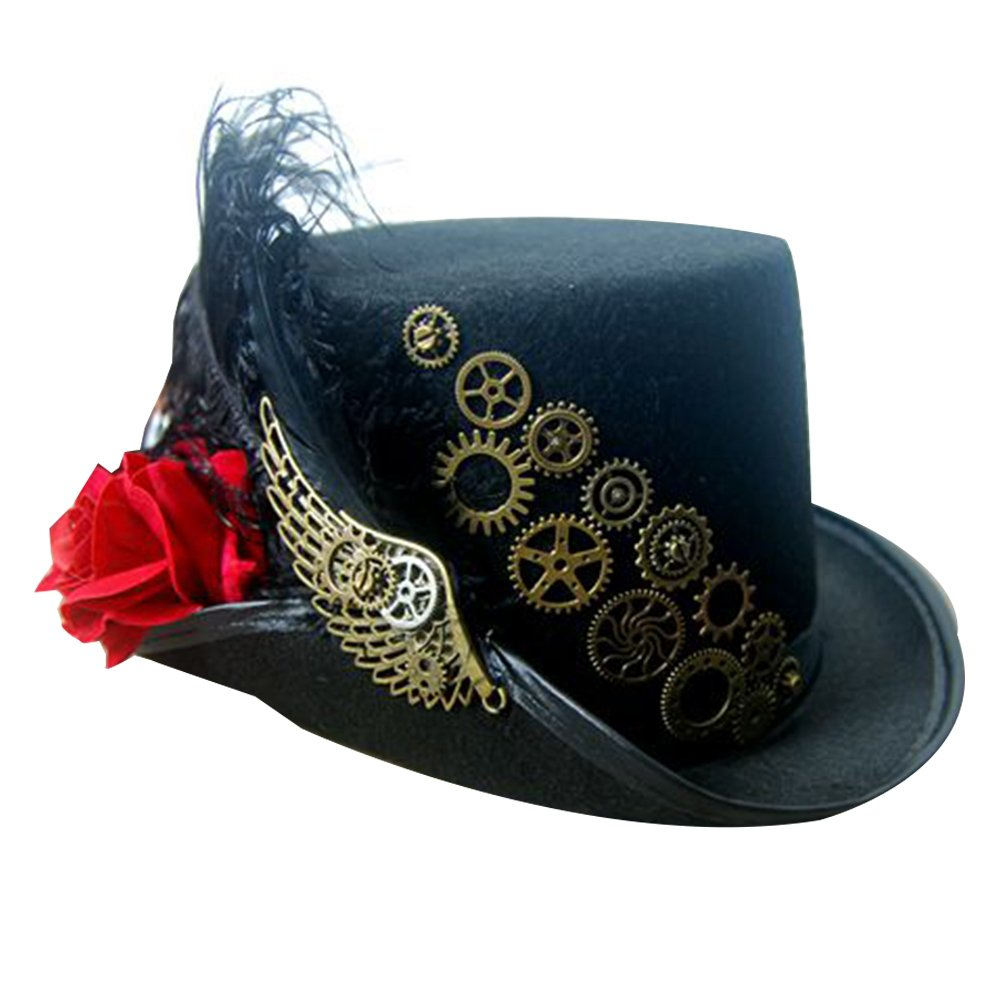 d4200849341 Get Quotations · PunkStyle Steampunk Victorian Hat for Women Black with  Metal Wing Cosplay Gothic Noble Top Hat