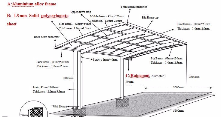 Morden Polycarbonate Roof Cantilever Carport For Outdoor
