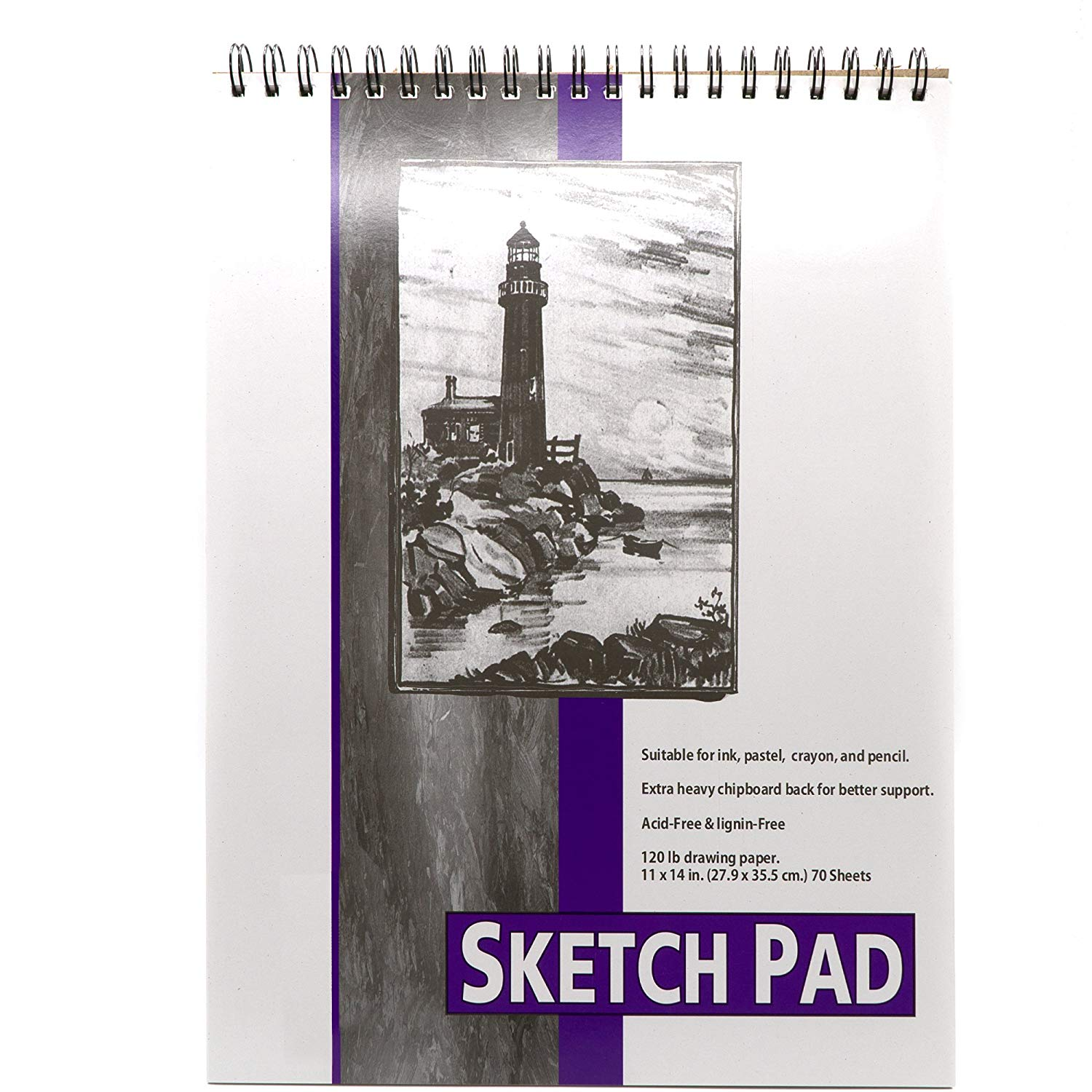 Emraw 70 Sheets Sketch Book - Artist Sketch Pads, Art Book Acid Free Drawing Paper for Kids, sketch pad book Drawing and School Supplies Spiral Sketch Pad & spiral bound drawing book