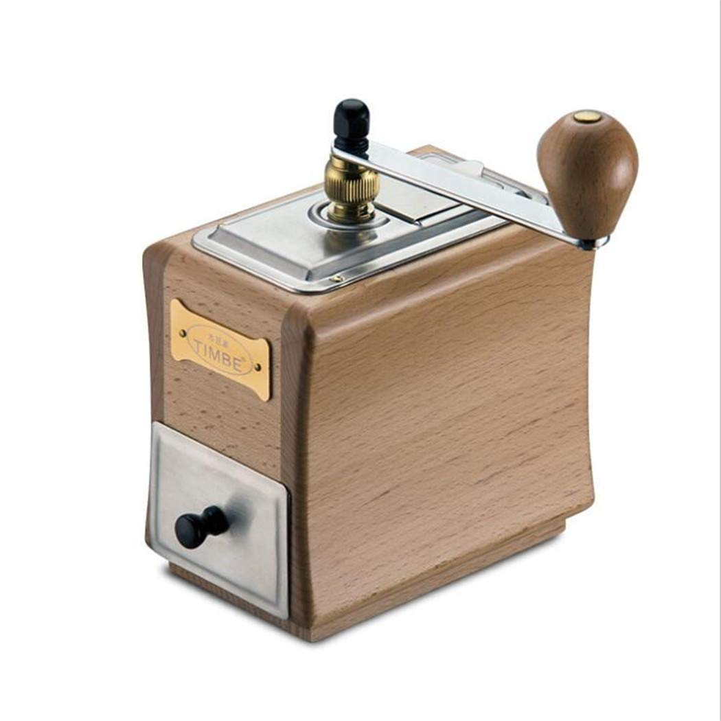YESUN Wood Color Manual Coffee Bean Grinder, Hand Crank, Wood, Stainless Steel, Household Mill, Whole Grains, Multifunctional, Adjustable Thickness, Wood Powder Box