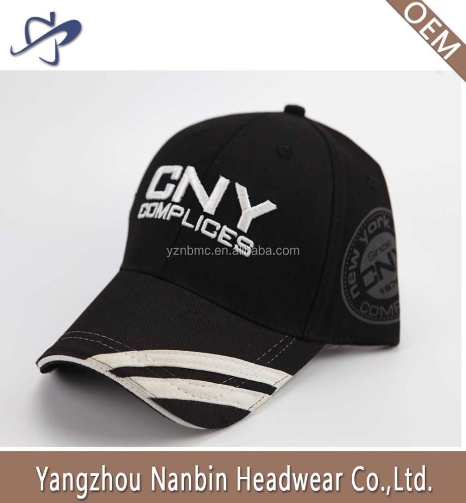 Hot sell high quality baseball cap with 3D embroidery print on the side and applique embroidery on the visor