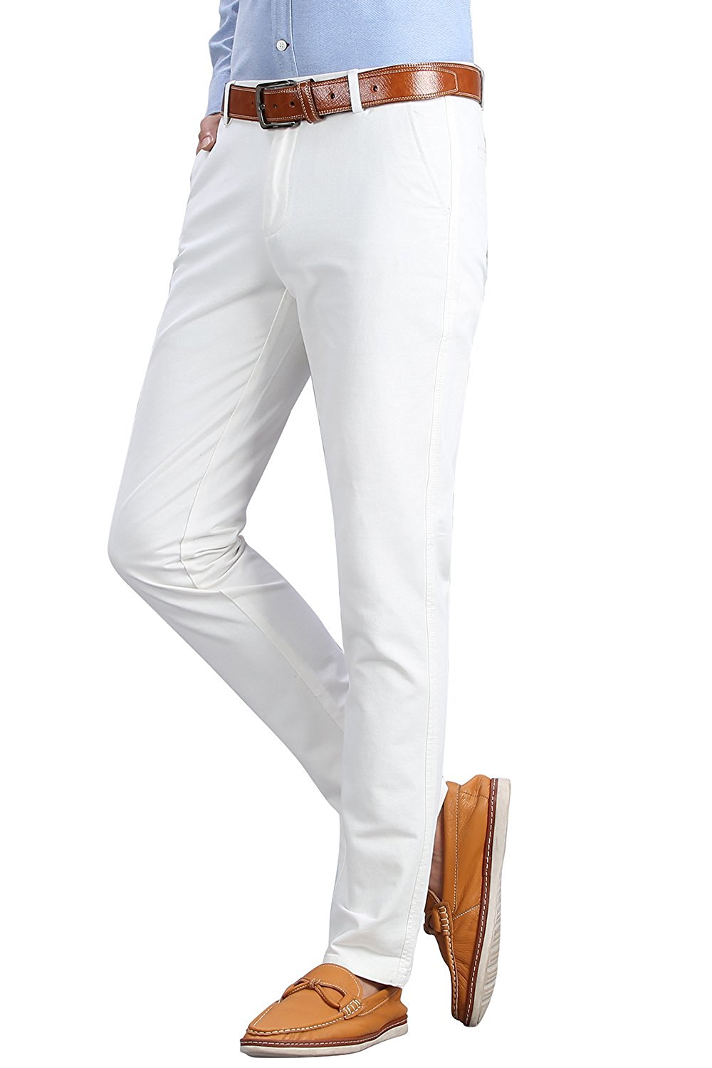 3253c417a55 Get Quotations · FLY HAWK Mens Slim Fit Tapered Flat Front Casual Pants 100%  Cotton Work Pants