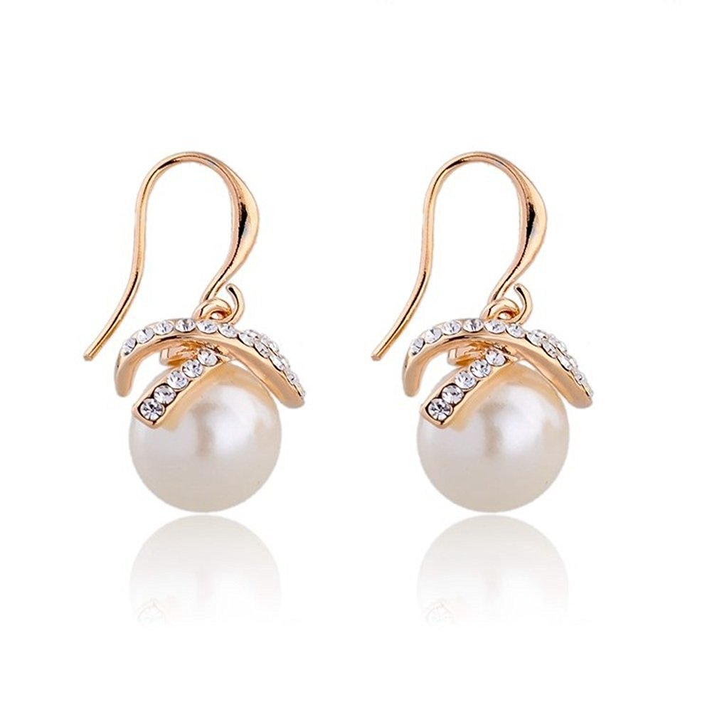 Jewelry Earrings - YiaMia(TM) Pearl Drop Statement Pendant Silver/Gold Earrings for Women Diamond 18K Gold Plated Imitated Hooks Crystal Earring for Girls Teen Girls Wedding Party Dresses
