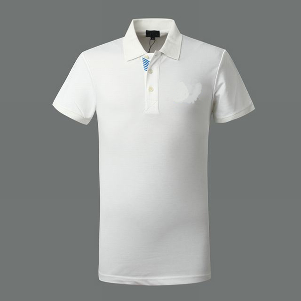 Cotton Plain White Color Polo T-shirt Stand Collar Polo Shirt ...