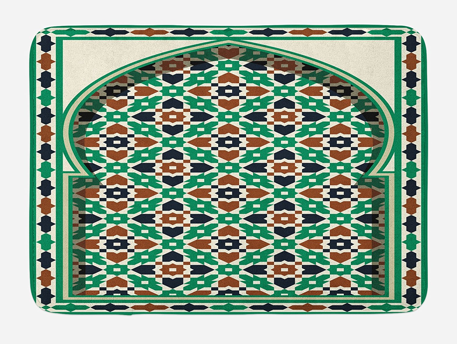 Moroccan Bath Mat by Ambesonne, Middle Eastern Style Moroccan Arch with Medieval Floral Details Retro Mosque, Plush Bathroom Decor Mat with Non Slip Backing, 29.5 W X 17.5 W Inches, Green Brown