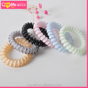 High quality sweet jelly color plastic telephone line hair circle elastic hair band