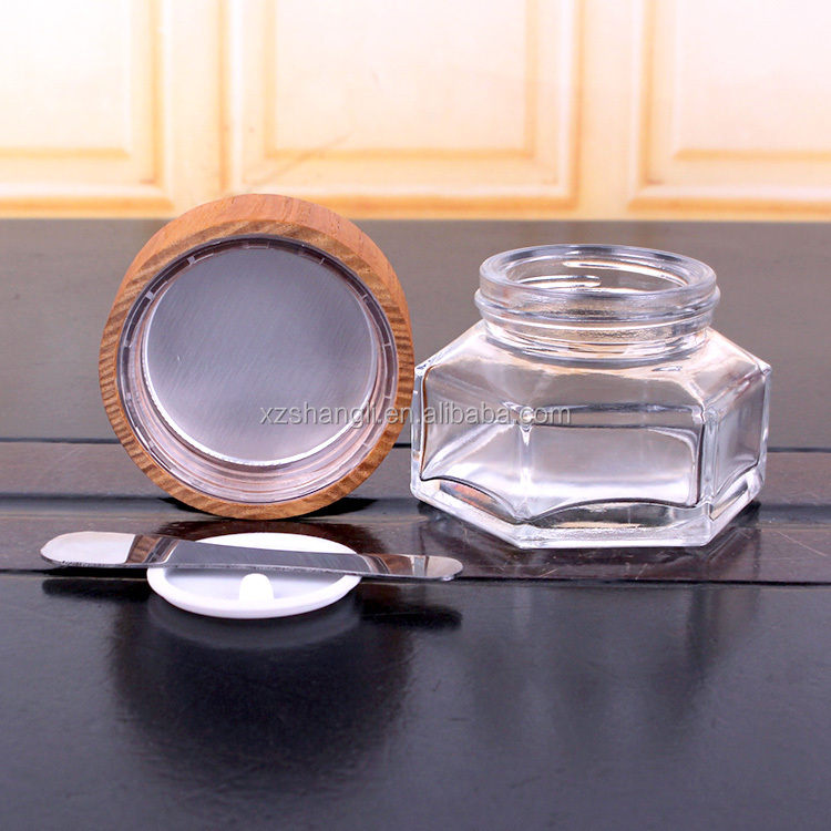 customized high quality  glass jar with wooden lid for  moisturizing thermal facial mask container for  cleaning mask
