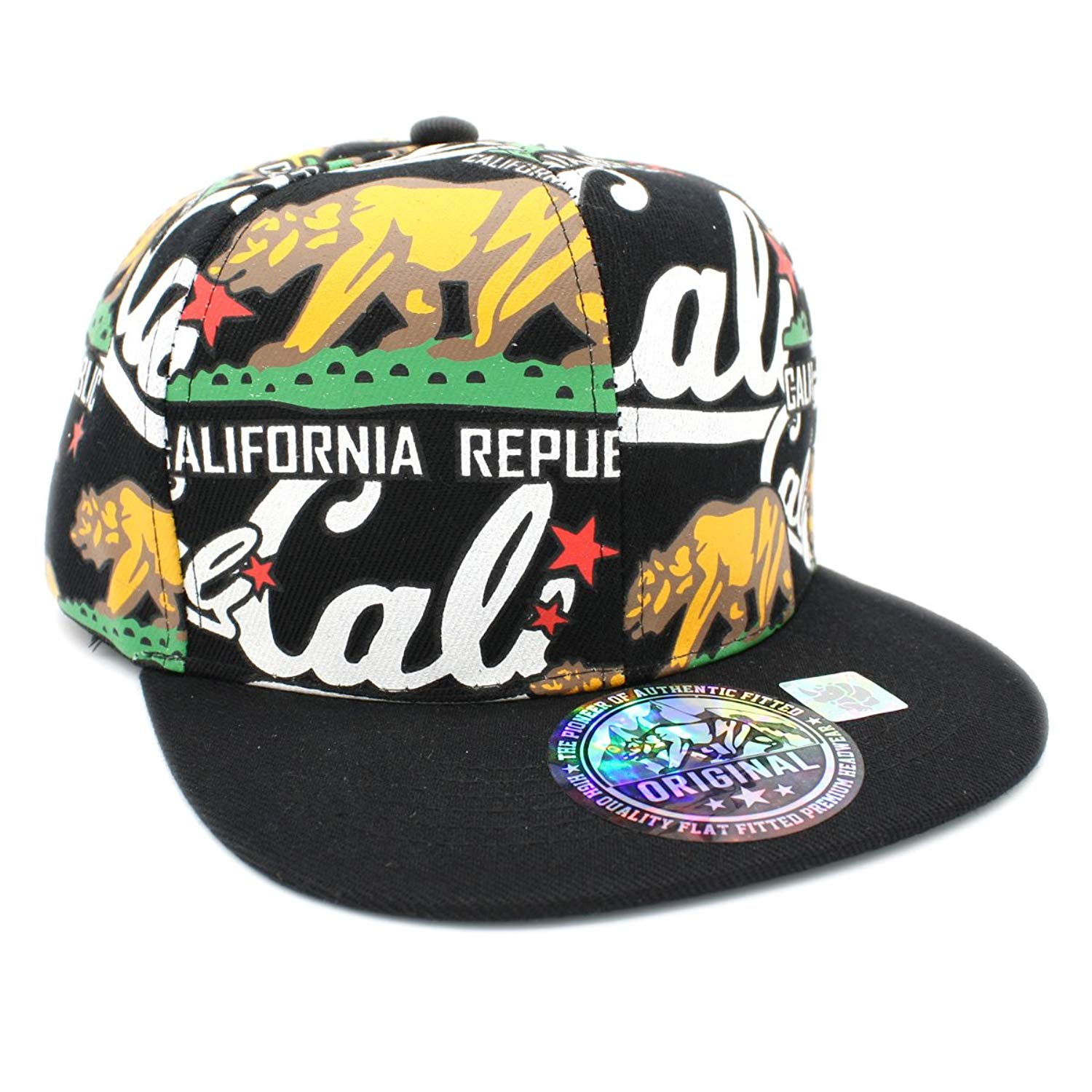 88ebafb60b4 Get Quotations · Color Print CALIFORNIA REPUBLIC Flat Bill Snapback Cap