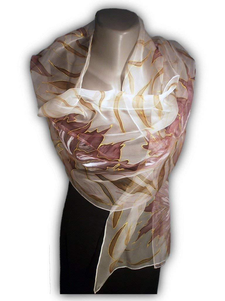 9f8a08383 Get Quotations · PURPLE EVENING Hand Painted Silk Scarf, Woman Silk Scarf,  Pure Silk Shawl, Wrap