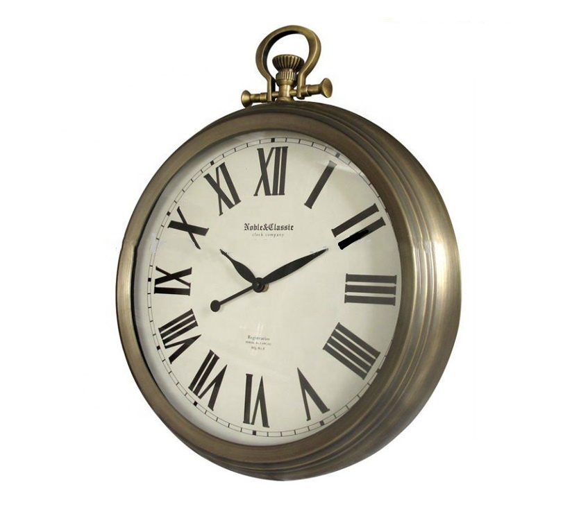 Vintage Europe Style Metal Hanging Bell Double Dial Roman Numerals Wall Clock