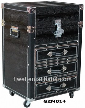 Portable Black Snake Faux Leather Storage Chest Of Drawers