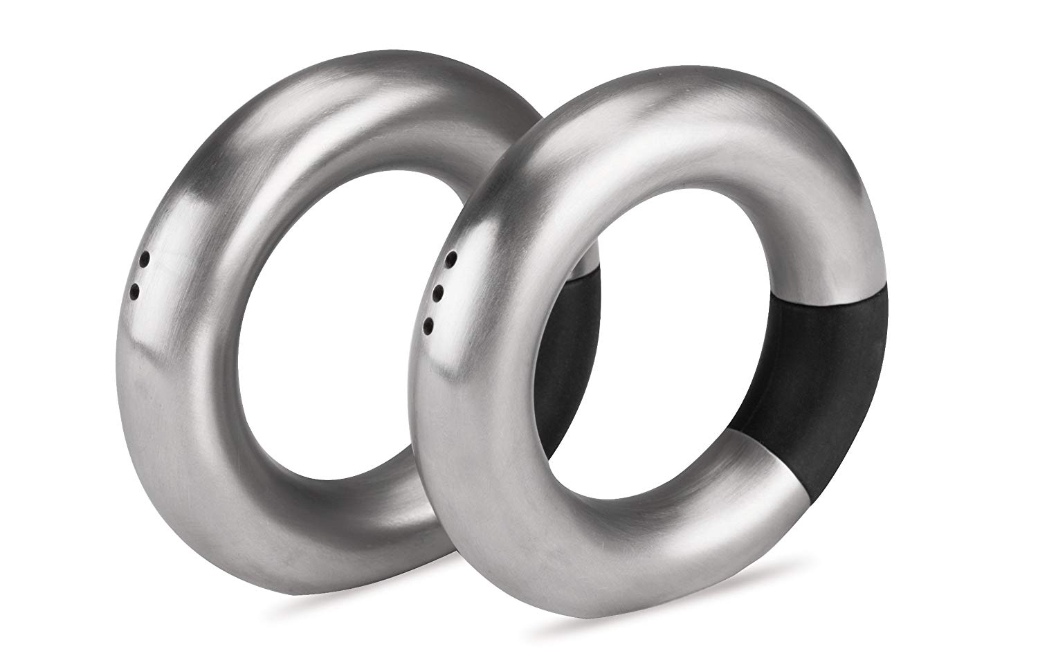 Dull Metal Salt and Pepper Set ALTURAS by Reflects in ring shape with black rubber application by Fine European Stuff