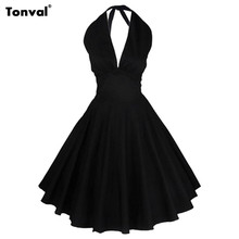 Tonval Women Vintage Rockabilly Black Dress Audrey Hepburn 50s Sexy V Neck Backless Evening Party Halter Summer Dresses