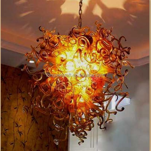 Yellow Glass Tube Chandelier Lighting Handmade DIY Lights Bar Pub Decor