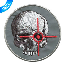 Reflective skull sew on patch Night Riders Embroidery jacket patches