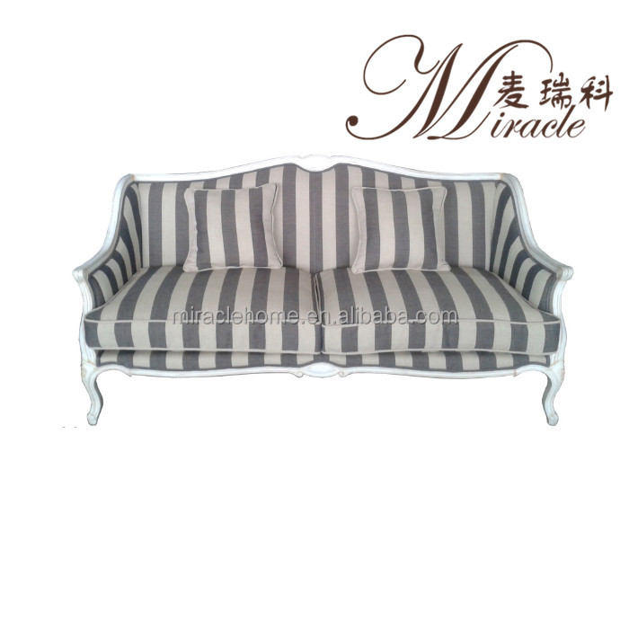 White Oak Wood Frame Stripe Fabric Classic Sofa Set
