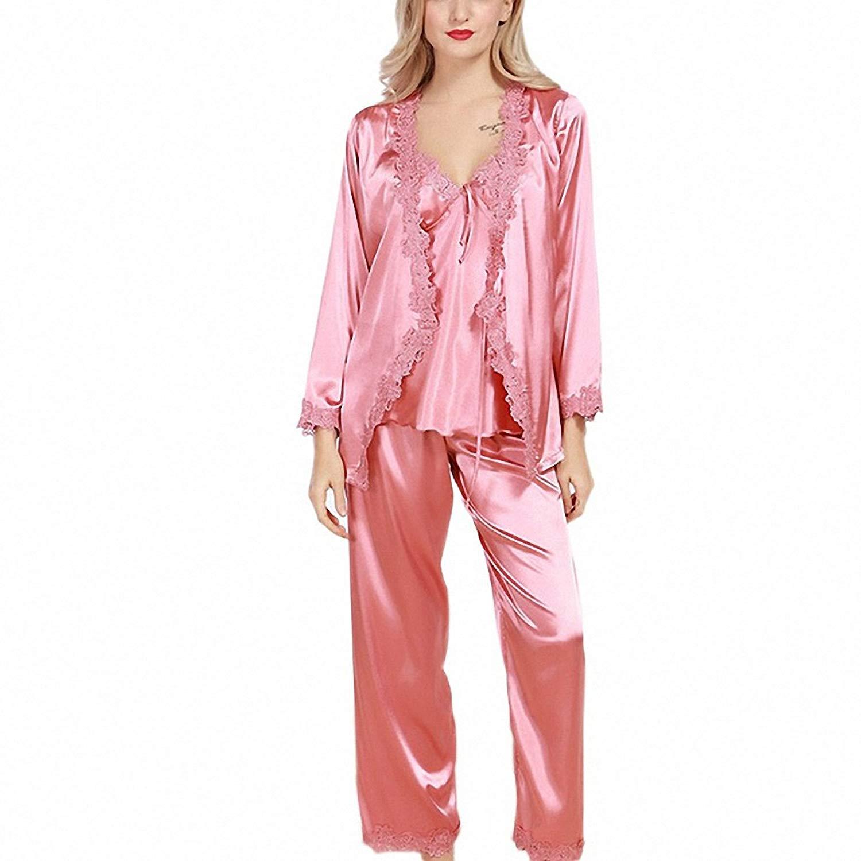 dbb08cd935 Get Quotations · Women Robe Pajama Sets NEW Faux Silk 3 Pcs Lace Silky  Pajamas Pants Set Pajama Sleep