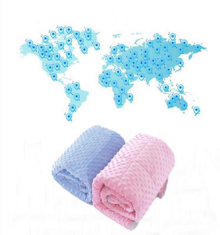 100% Cotton 5 lb Blue Minky Dot Bed Heavy Kids Weighted Blanket For Sleeping