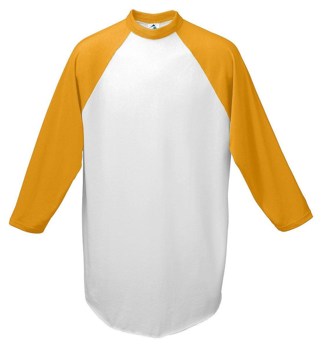 Augusta Sportswear Youth Raglan Sleeve Baseball Jersey, White Gold, Medium
