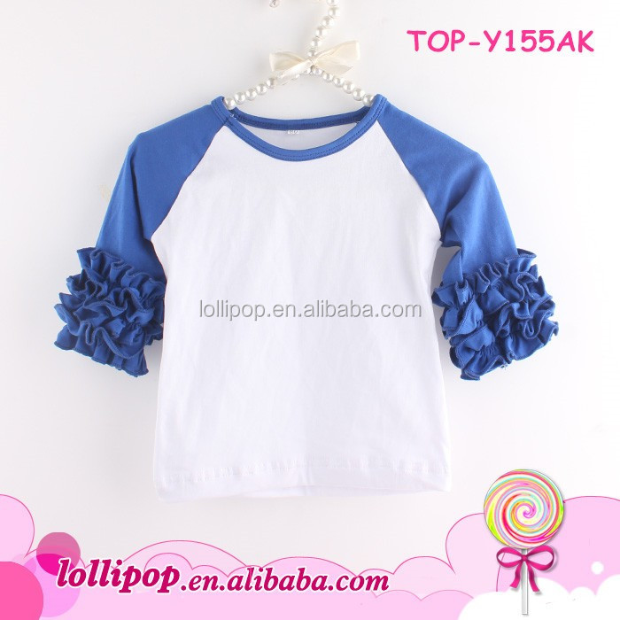 Wholesale price girls boutique ruffle clothing persnickety ruffle raglan sleeve shirts