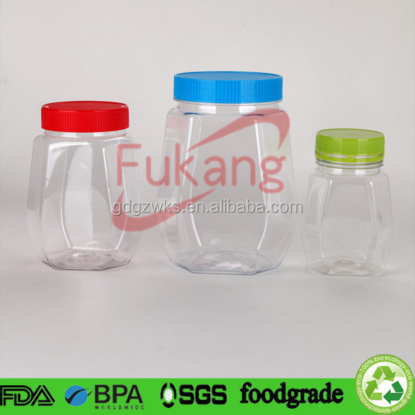 FDA food grade standard plastic peanuts packaging clear jar / container with screw cap or tamper proof lid