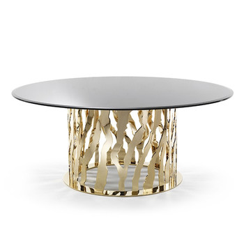 stainless steel table leg glass table top round dining table