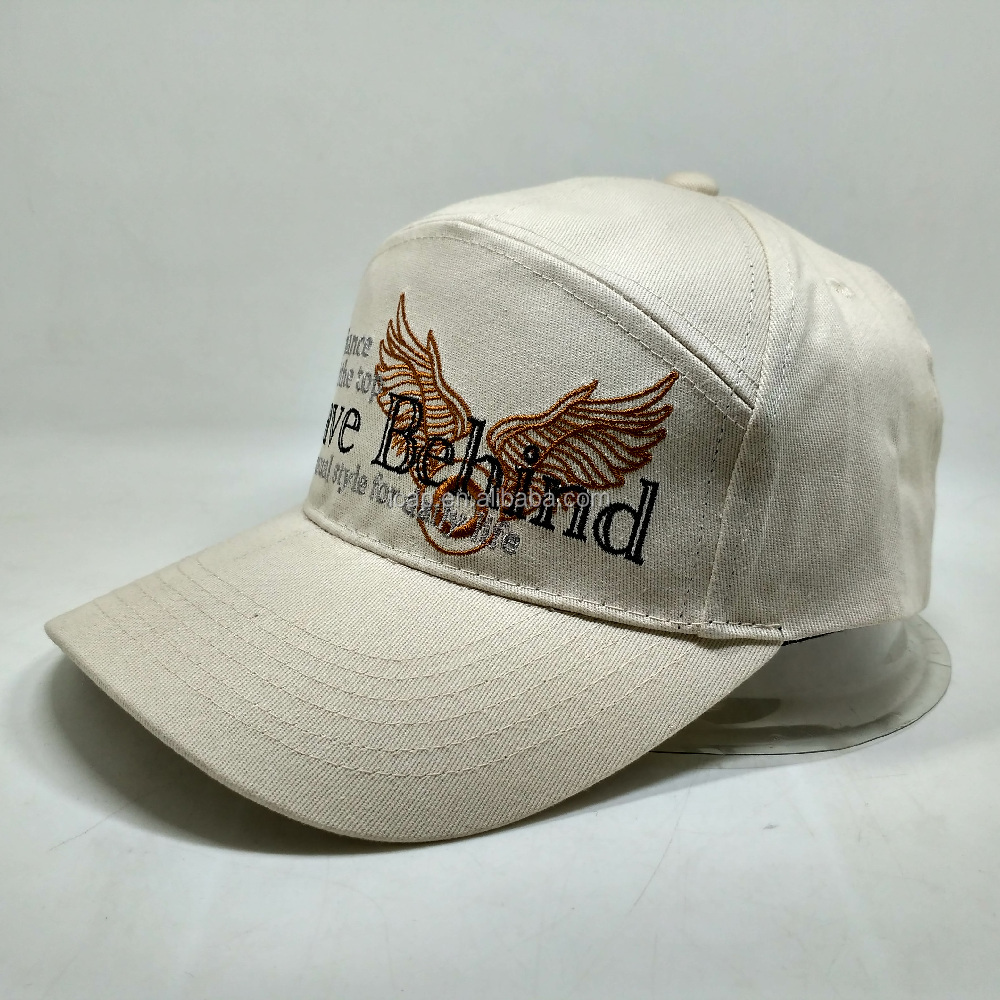 2017 Fashion Custom 7 Panel Camp Cap Shoe Buckle Baseball Cap Caps With Flat Embroidery And Wings Pattern