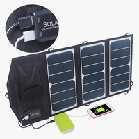 19.5W 2-Port USB Solar Charger with Portable Foldable Solar Panel PowermaxIQ Technology for all USB Device