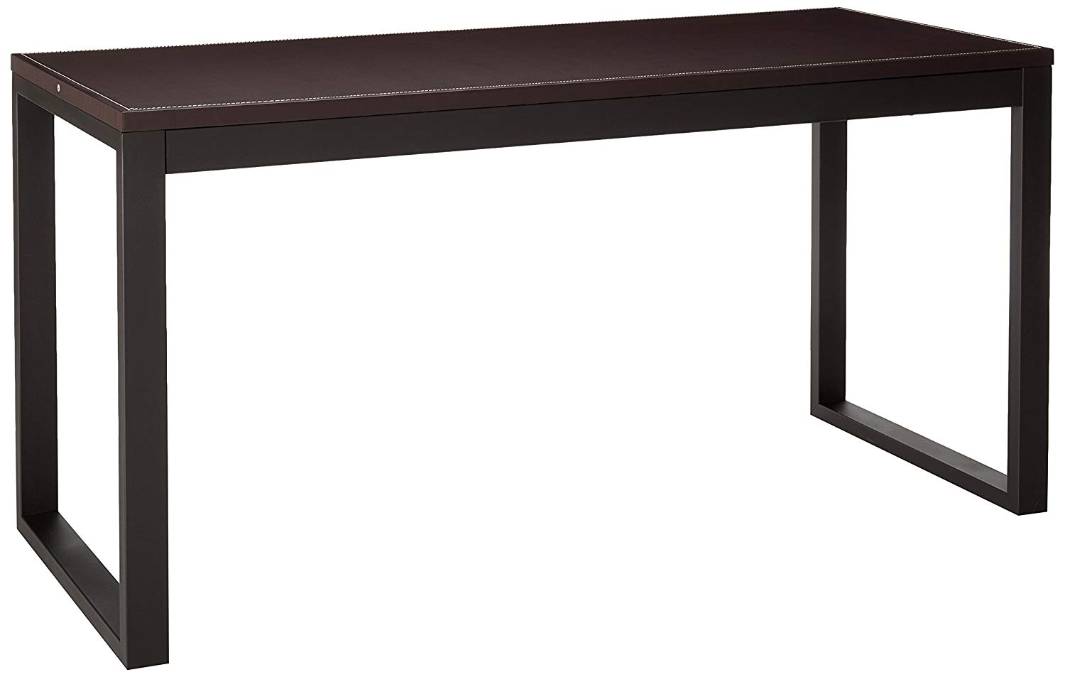Major-Q Faux Leather Top Workstation Desk with Metal Base, Espresso and Sandy Black, 60 x 24 x 29H