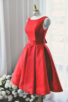 Custom Made Short Red A line Backless Prom Dress Satin Wedding Party Dress