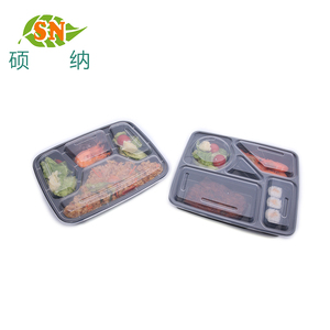 Disposable plastic bento lunch food box 3 compartment