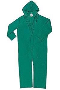 River City Garments 2X Green Dominator .4200 mm PVC And Polyester Flame Resistant Rain Coveralls With Double Storm Flap Over Front Zipper Closure And Attached Drawstring Hood - 1 EA