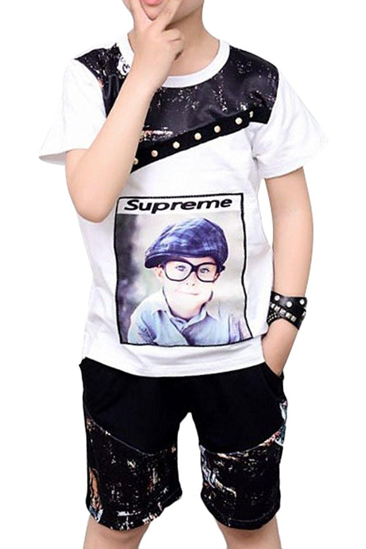 Little Boy Casual Simple Hip-hop Cotton Vest Summer 2ps Clothe Set