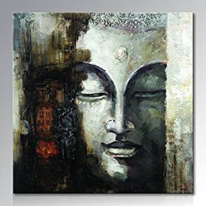 Seekland Art Hand Painted Large Buddha Face Canvas Wall Art Abstract Oil Painting Modern Decor Contemporary Artwork Framed Ready to Hang