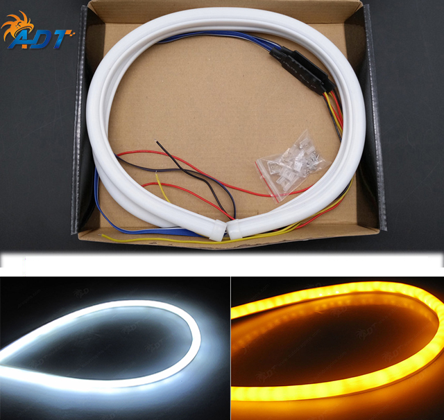60cm hose flowing dual color whiteamber car flexible switchback led 60cm hose flowing dual color whiteamber car flexible switchback led strip tube light drl sciox Images