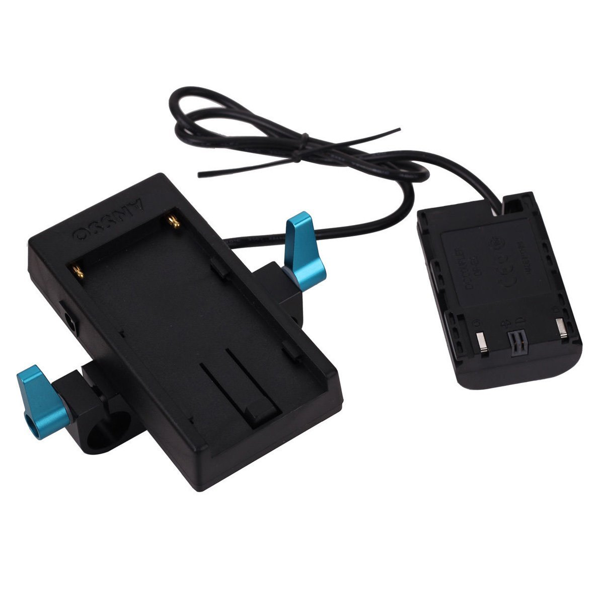 Ansso LP-E6 Dummy Battery Power Supply Plate Mount with 15mm Rod Clamp for Sony NP-F970 F Series Battery