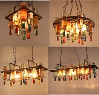 Retro Glass Chandelier American Creative Bar Colorful Wine Bottle Pendant Lights