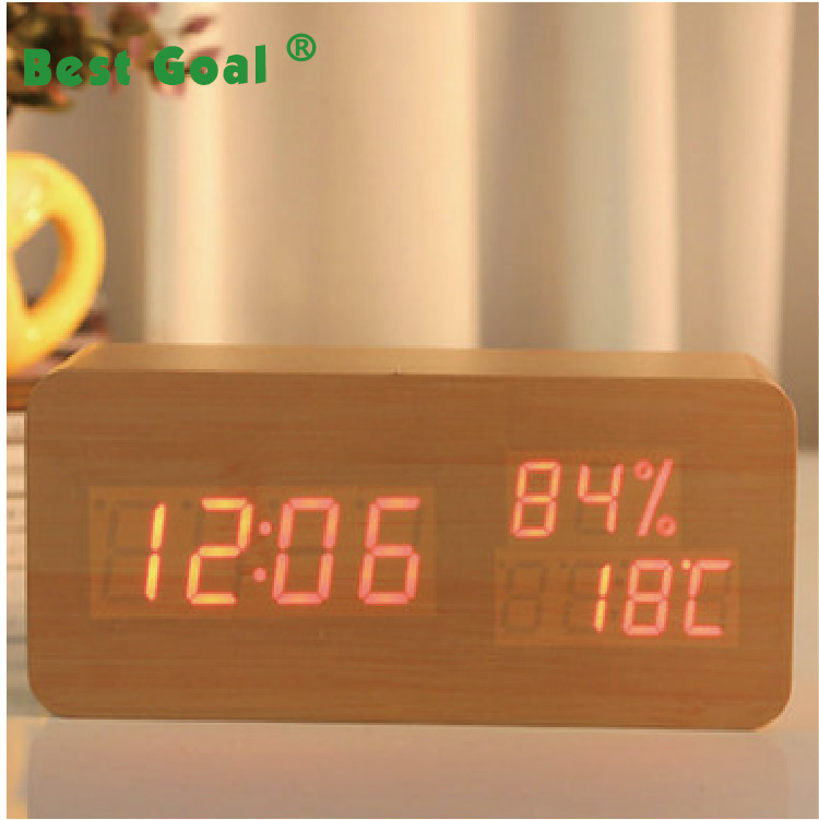 Legno LED Digital Alarm Clock, visualizza