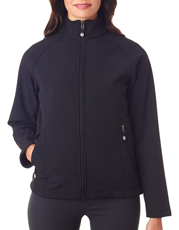 UltraClub Women's Polyester Wind Resistant Hem Soft Shell Jacket