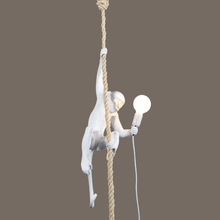 Animal Zhongshan E27 light source Hemp rope and Resin Animal Hanging Monkey lamp