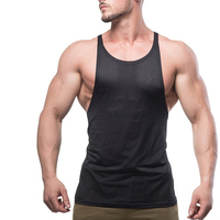 High Performance Blank Gym Wear Men Black Mesh Fitness Stringer