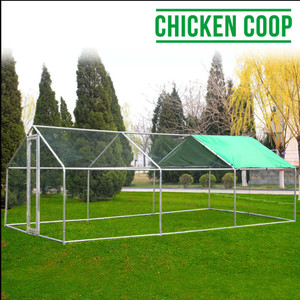 6Mx3M large metal chicken coop run walk in cage poultry rabbit duck goose house